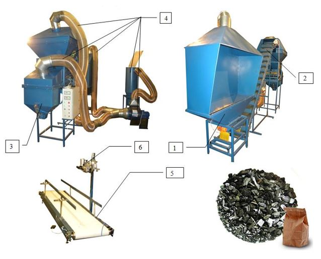 Semi-automatic line of packing  charcoal
