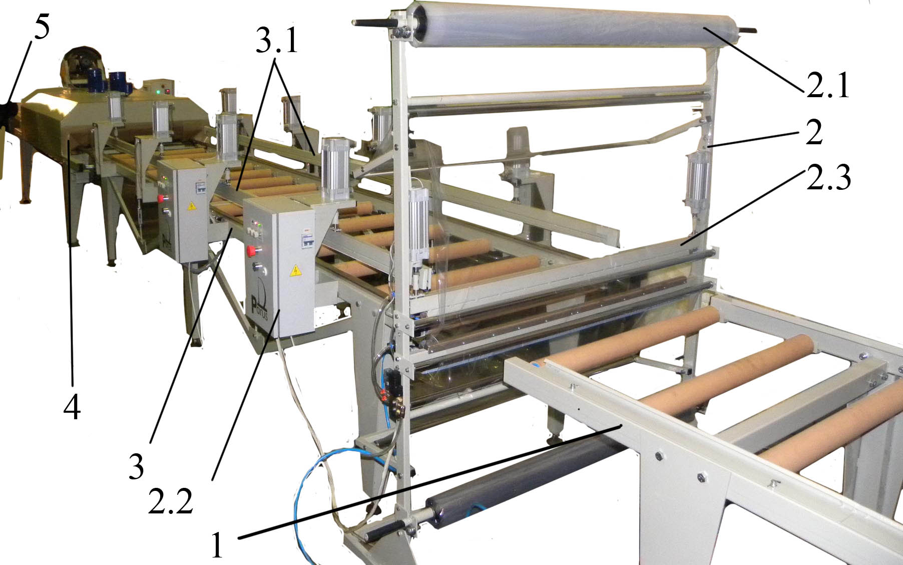 Packaging equipment for large-sized products (doors, table tops, furniture boards, wooden boards etc.) into polymer film